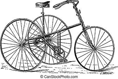 velocipede, triciclo, vendimia, engraving.