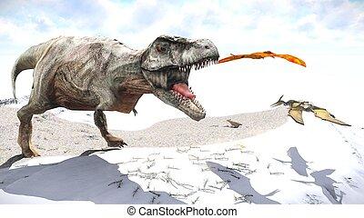 Velociraptor and pterodactyl 3d rendering - Velociraptor and...
