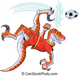 velociraptor, balle, vélo, illustration, donner coup pied, vecteur, football