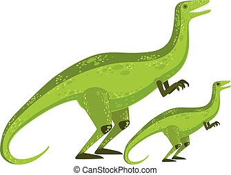 Velociraptor Dinosaur Prehistoric Monster Couple Of Similar Specimen Big And Small Cartoon Vector Illustration