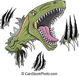 velociraptor, dinosaurio, vector