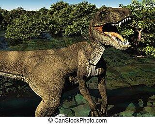 velociraptor, dinossauro, 3d, fazendo