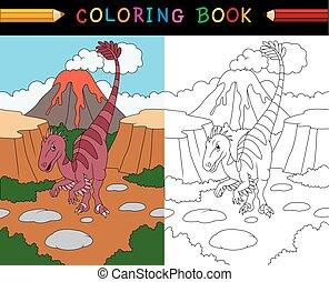 velociraptor, livre coloration, dessin animé