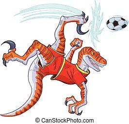 velociraptor, piłka, rower, ilustracja, kopanie, wektor, piłka nożna