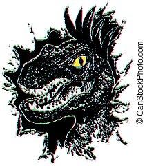 velociraptor, retrato, grunge