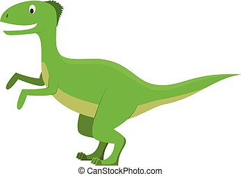 Velociraptor vector illustration in cartoon style for kids. Dinosaurs Collection.