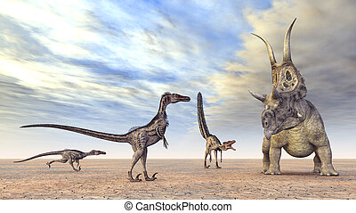 Velociraptors Hunting - Computer generated 3D illustration...