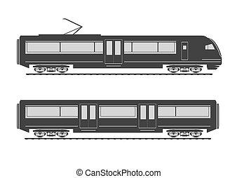 velocità, alto, silhouette, treno