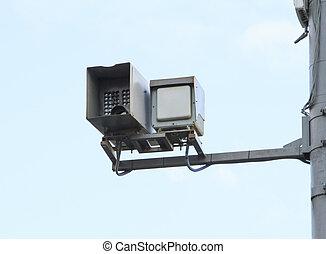 velocità, controllo, macchina fotografica, su, uno, polo