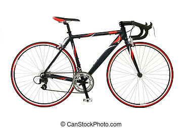 velocità, correndo bicicletta, sopra, sfondo bianco
