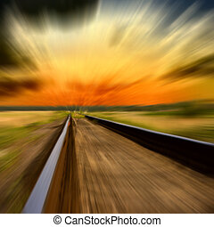 velocità, ferrovia, tramonto, sfocato