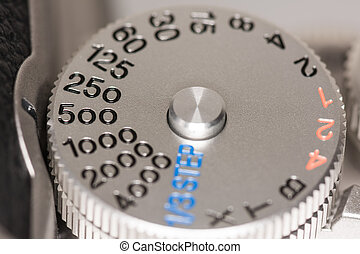 velocità imposta, quadrante, su, uno, macchina fotografica