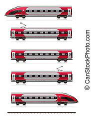 velocità, treno, alto, set, moderno