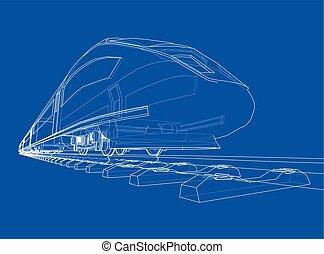 velocità, treno, vettore, moderno, concept.