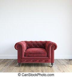 velours, mini, fauteuil, unique, rouges
