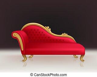 velours, sofa, divan, réaliste, vecteur, luxueux, rouges