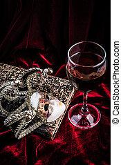 velours, théâtre, carnaval, pourpre, concept., masque, book., décoration, fond, vin