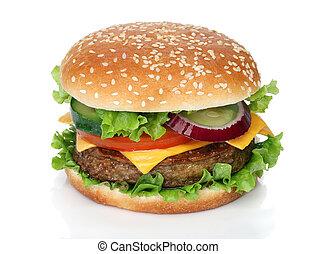 velsmagende, hamburger, isoleret, på hvide