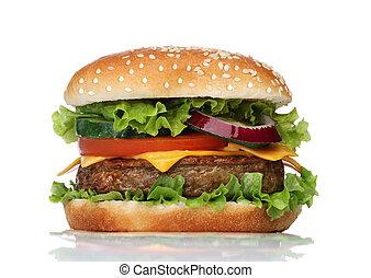 velsmagende, hvid, hamburger, isoleret