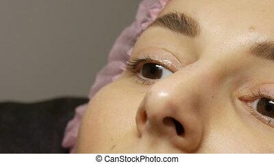 velu, femme, chapeau, procédure, brun, beauté, yeux, beau, ...