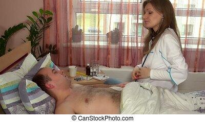 velu, homme, docteur féminin, stéthoscope, calme, écoute, ...