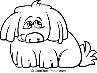 velu, mignon, coloration, chien, dessin animé, page