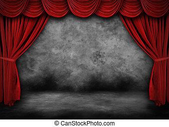 veludo, cortinas, pintado, grunge, teatro, vermelho, fase