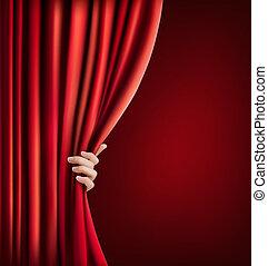 veludo, illustration., mão., vetorial, fundo, cortina,...