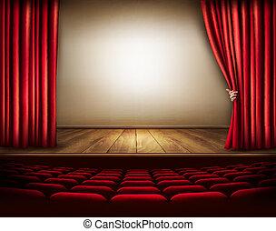 veludo, mão., ilustração, vetorial, fundo, cortina, vermelho