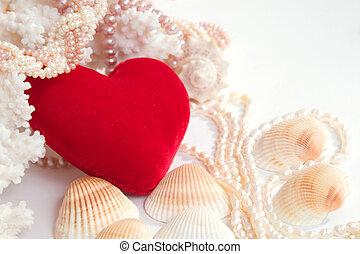 velvet heart with pearls