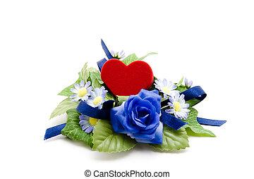 Velvet heart with rose