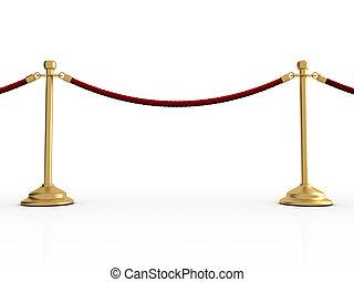 Velvet rope barier - Golden velvet rope barrier over white -...