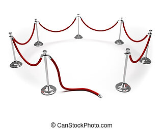 Velvet rope with silver brass arranged in circle shape - 3d...