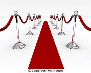 Velvet rope - A red carpet and velvet rope  - 3d render