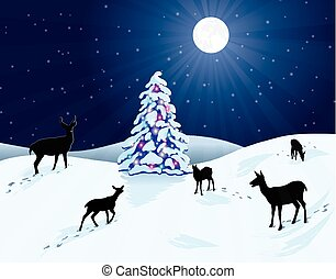 venado, árbol, nieve, navidad