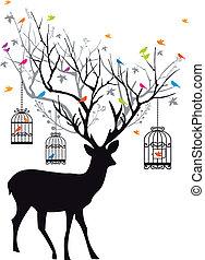 venado, con, aves, y, jaulas de pájaros, vect