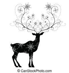venado, con, copos de nieve, cuernos, vector, ilustración