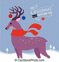 venado, saludo, Ilustración,  vector, navidad, tarjeta