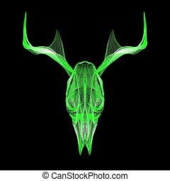 venado, skull., 3d, estilo, vector, para, impresión, tatuaje, t-shirt.