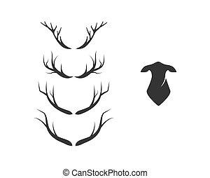 venado, vector, conjunto, logotipo