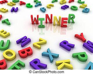 vencedor, conceito, palavra, nuvem,  3D