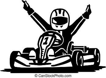 vencedor, correndo, kart