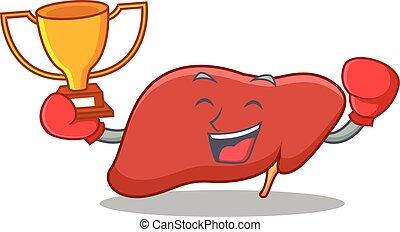 vencedor, estilo, caricatura, boxe, mascote, fígado