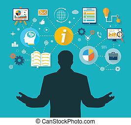 vencedor, gerência, administração, negócio, tempo
