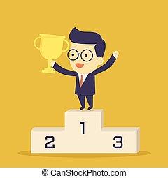 vencedor, homem negócios, com, ganhar, troféu, levantar,...
