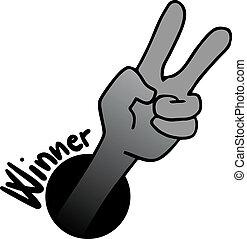 vencedor, mão