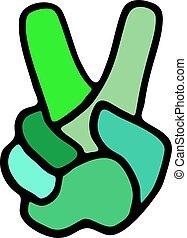 vencedor, mão, símbolo