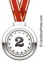 vencedor, medalha, prata, fita