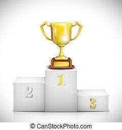 vencedor, pedestal, com, troféu ouro, cup.