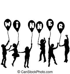 vencedor, silhuetas, conceito, balões, crianças